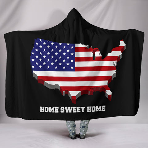 USA Home Sweet Home Hooded Blanket