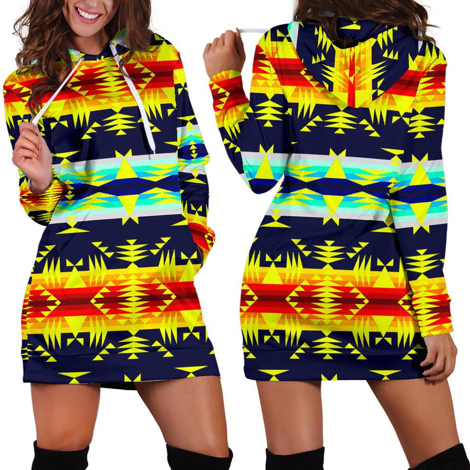 Between the Mountains Navy Yellow Hoodie Dress