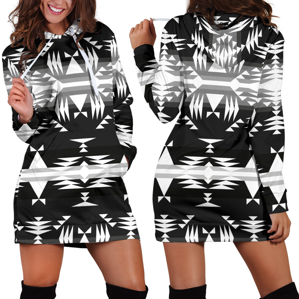 Between the Mountains Black and White Hoodie Dress