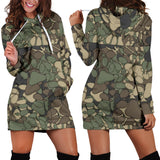 Women's camouflage paw prints hoodie dress