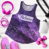 Believe Galaxy Stripe Women's Racerback Tank