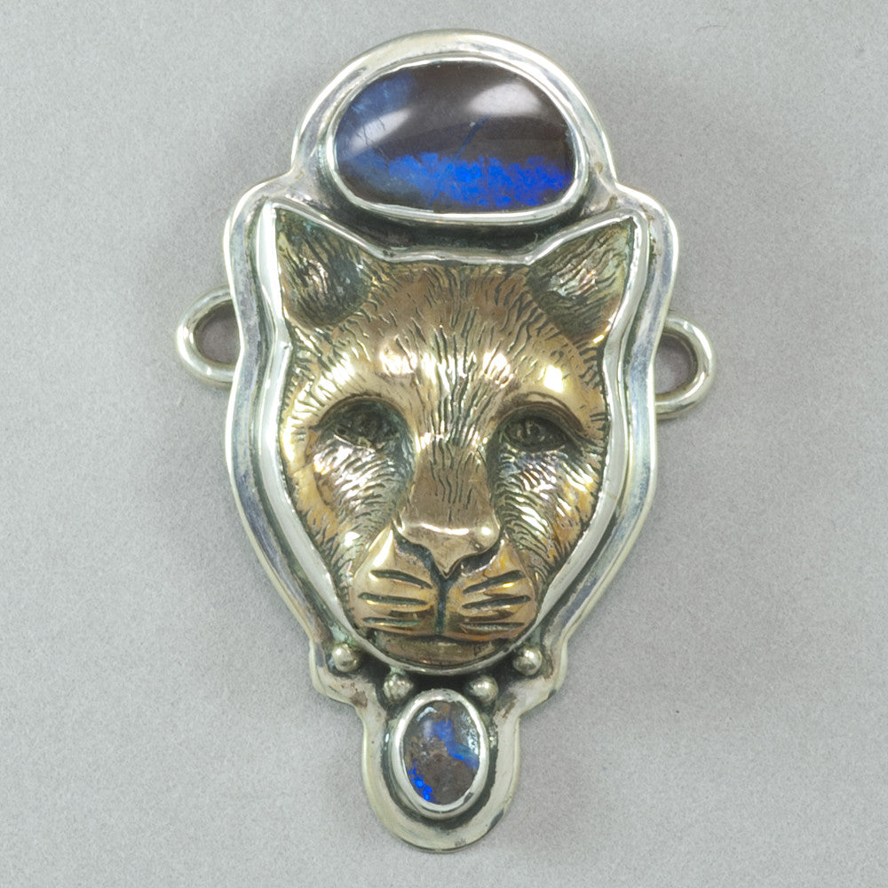 Tabra Bronze Jaguar and Boulder Opal Charm