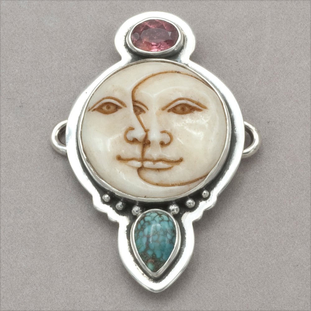 Tabra Tourmaline Sun And Moon Face And Turquoise Charm Rainbow Bridge