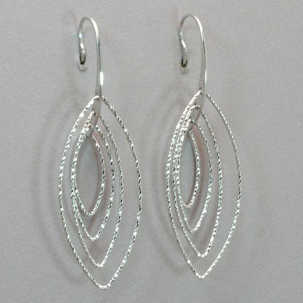 Azur Rhodium Pointed Oval Earrings