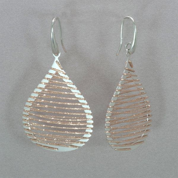 Azur Rose Gold and Rhodium Tear Drop Earrings