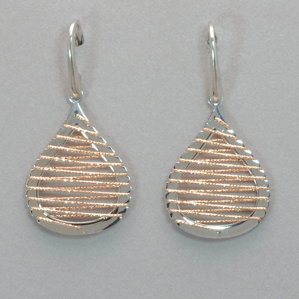 Azur Rhodium and Rose Gold Wire Earrings
