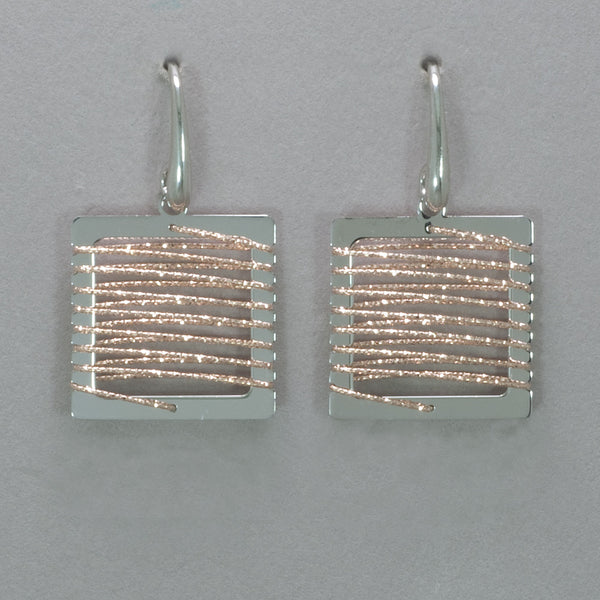 Azur Rhodium and Rose Gold Square Earrings