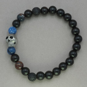 Italgem Skull with Lava Onyx and Lapis Bead Bracelet