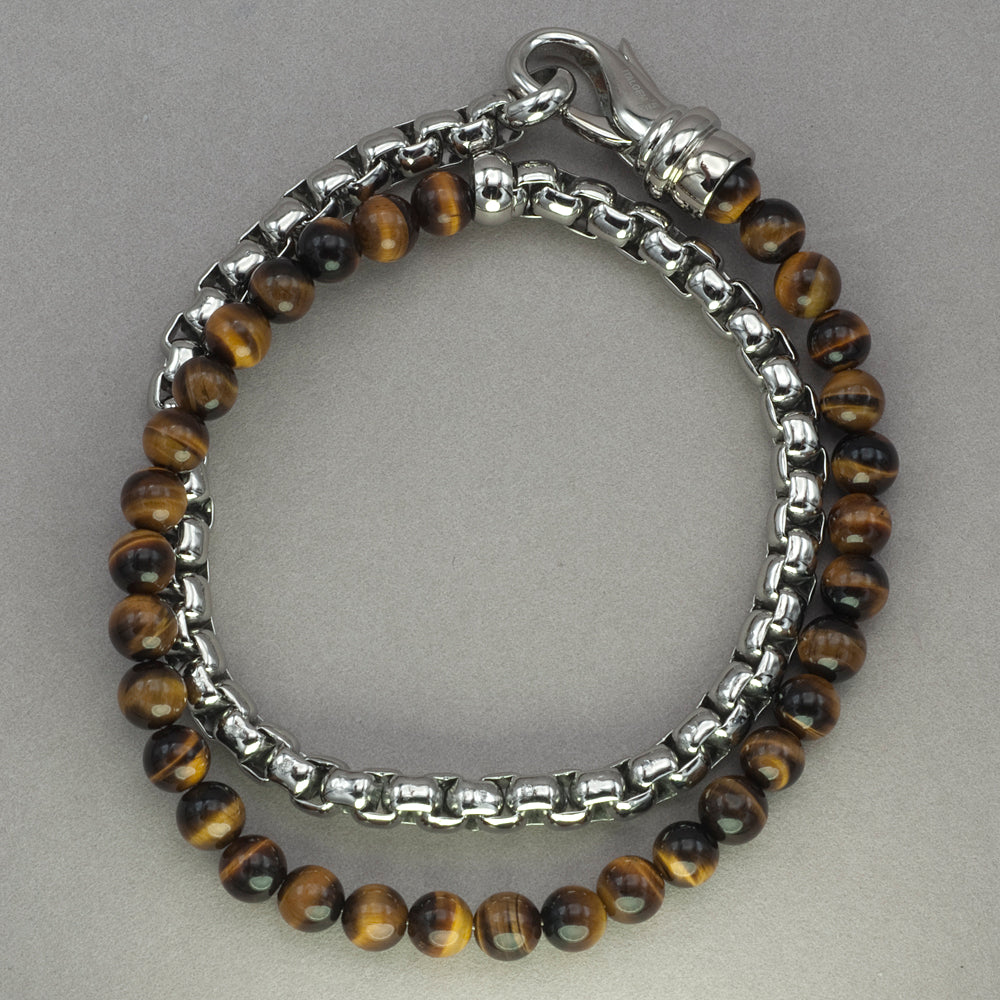 Italgem Tiger Eye and Stainless Steel Wrap Bracelet