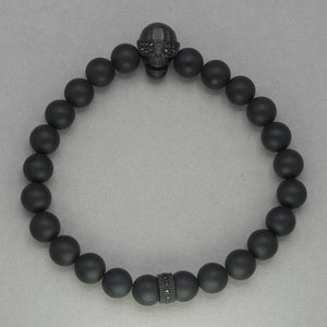 Italgem Skull with Sunglasses and Onyx Bead Bracelet