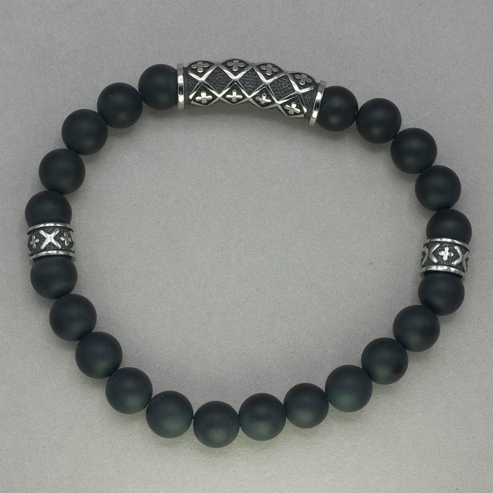 Italgem Onyx Bead Cross Design Bracelet