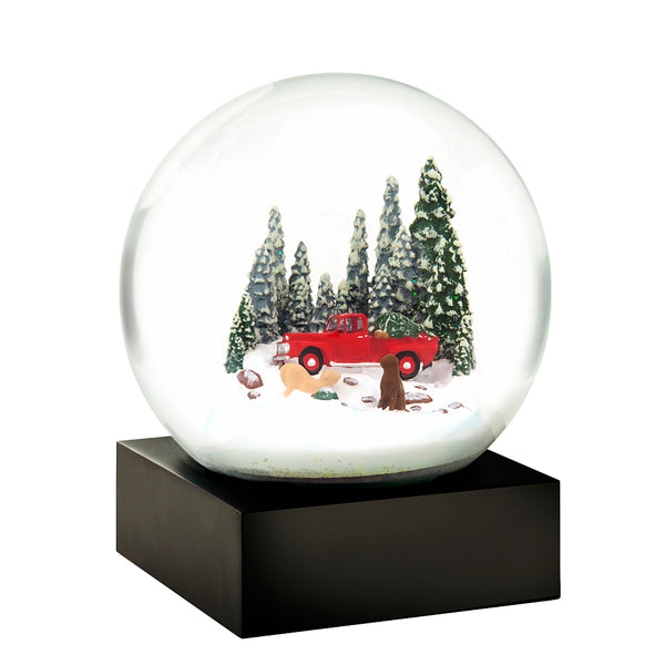 Snowglobe - Red Truck with Dogs