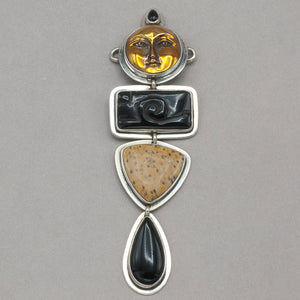 Tabra Goddess with Onyx and Palmwood Neck Charm