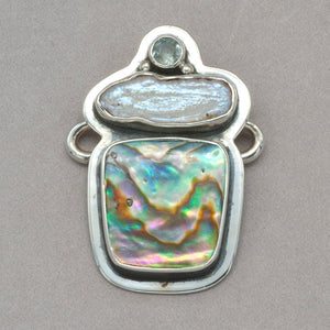 Tabra Quartz, Freshwater Pearl and Abalone Charm