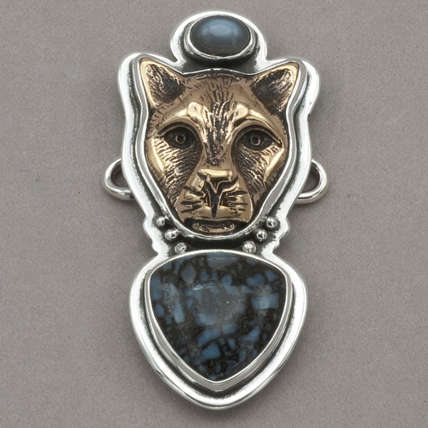 Tabra Moonstone, Bronze Jaguar and Bone Charm
