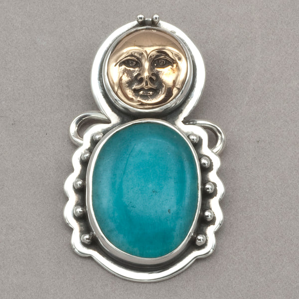Tabra Bronze Face with Amazonite Charm
