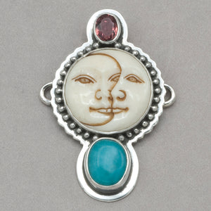 Tabra Pink Tourmaline, Sun and Moon Face and Amazonite Charm