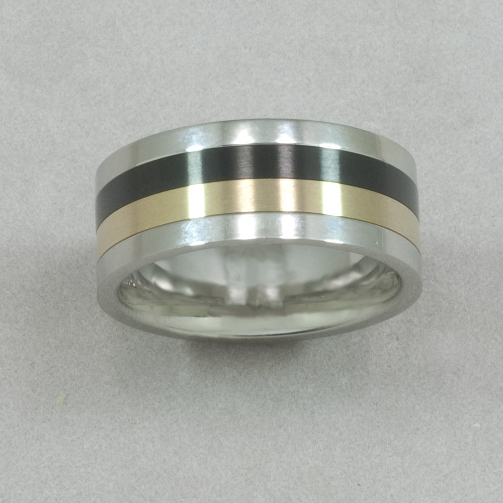 Italgem Stainless Steel with Yellow and Black IP Spinner Ring