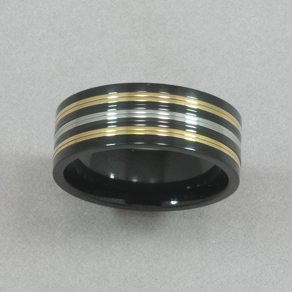 Italgem Black, Yellow and White IP Stainless Steel Ring