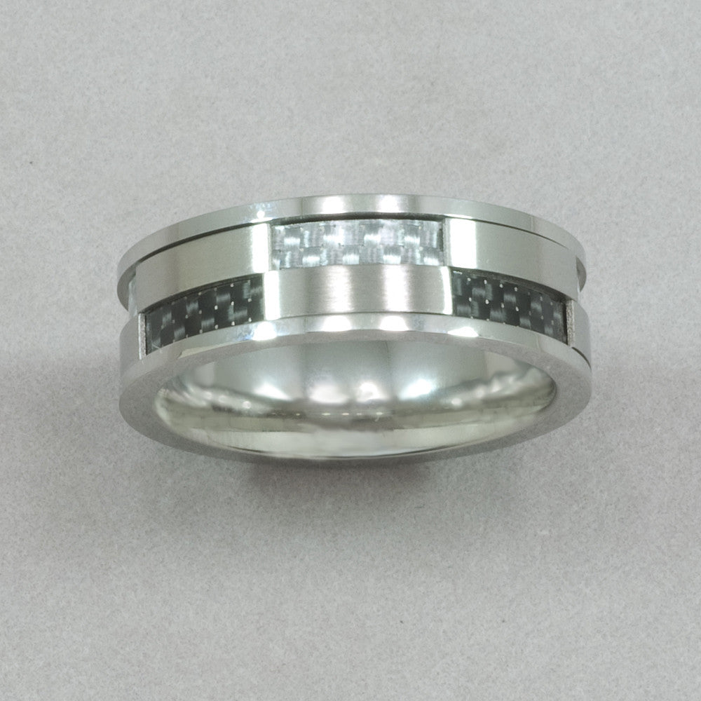 Italgem Stainless Steel Black and White Carbon-Fiber Ring