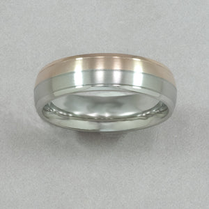 Italgem Stainless Steel and Rose IP Brushed Ring
