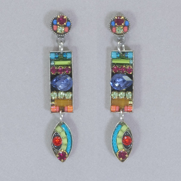 Firefly Viva Rectangle with Drop Post Earrings - Multicolor
