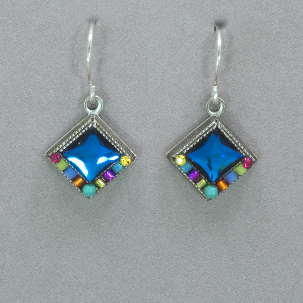 Firefly Bright Diamond Shape Earrings - Multicolor