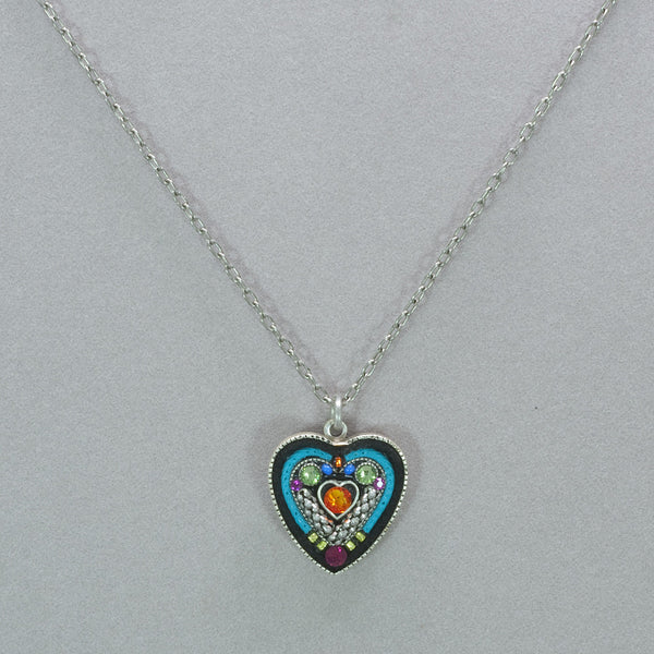 Firefly Heart within a Heart Pendant Necklace