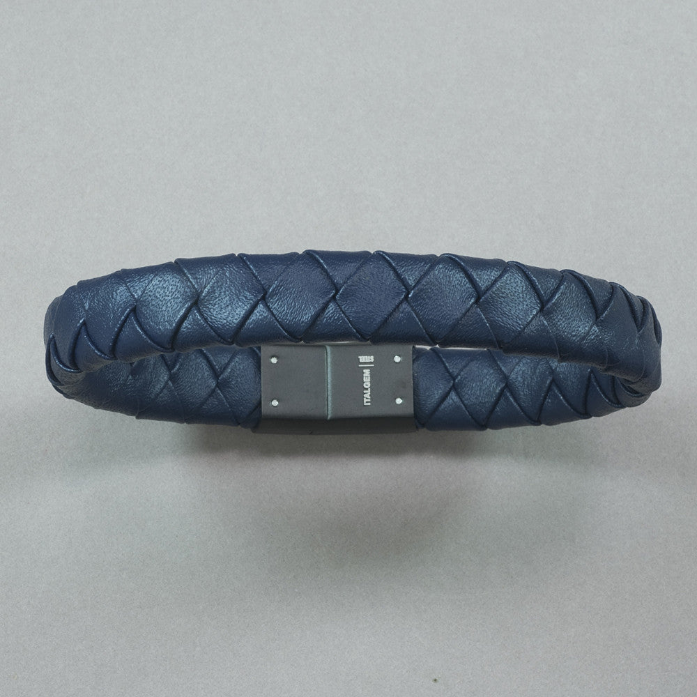Italgem Blue Leather with Matte IP Stainless Steel Bracelet