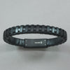 Italgem Black Leather with Black IP Stainless Steel Bracelet