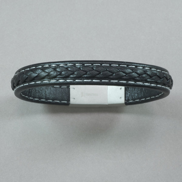 Italgem Black Leather with Matte Stainless Steel Bracelet