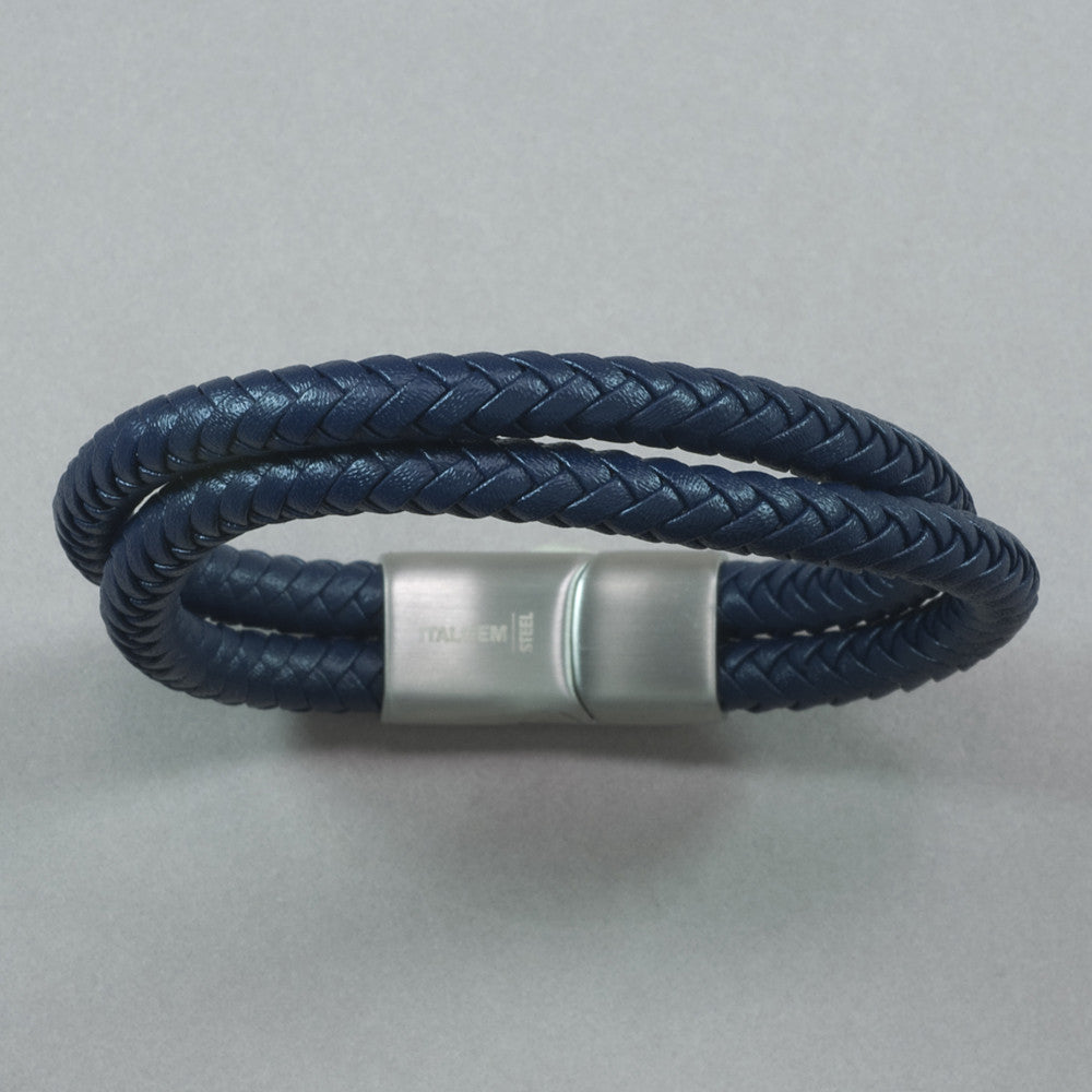 Italgem Blue Leather Double Cord with Stainless Steel Matte Bracelet