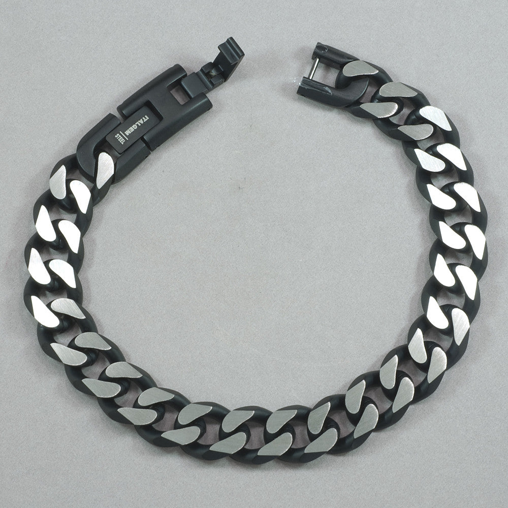 Italgem Black IP S. Steel Mate Cut Curb Link Bracelet