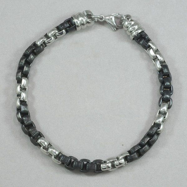 Italgem Stainless Steel and Black IP Bracelet