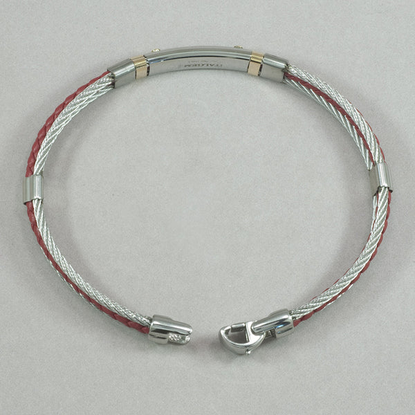 Italgem 18K Gold Stainless Steel Cable and Red Leather Bracelet