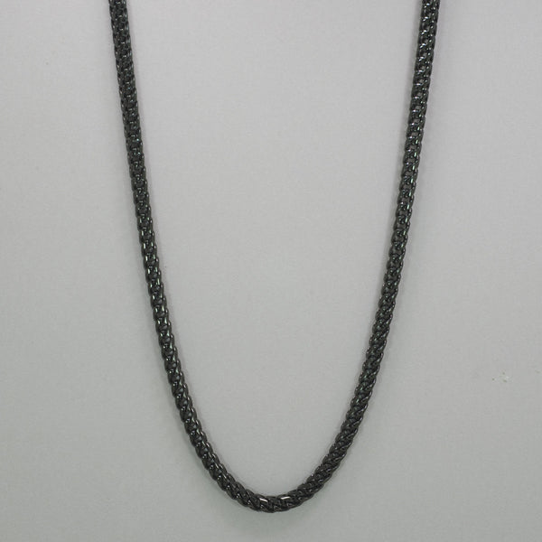 "Italgem Black-IP S. Steel 6mm-Round Franco Polished 24"" Necklace"