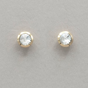 Italgem White CZ Stainless Steel Stud Earrings