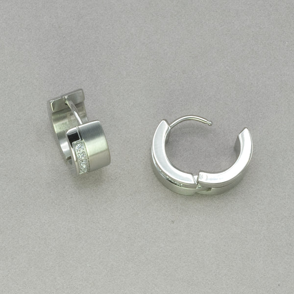 Italgem White CZ Stainless Steel Earrings