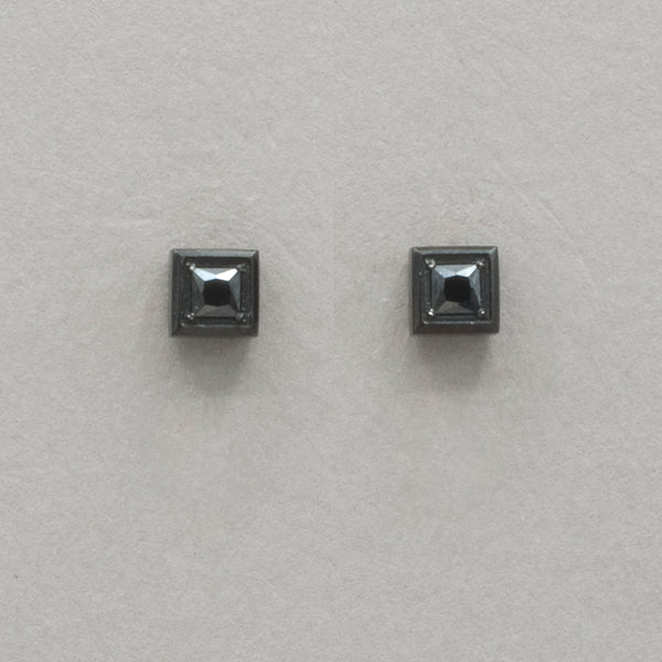 Italgem Black CZ Square Stud Earrings