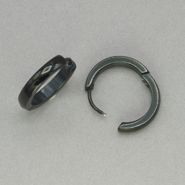 Italgem Black Stainless Steel Hoop Earrings