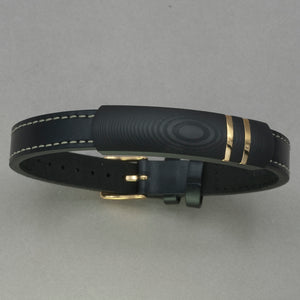 Italgem Black Leather Carbon Mokune Bracelet