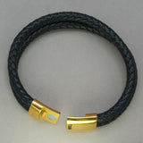 Italgem Black Leather 2-Strand Bracelet