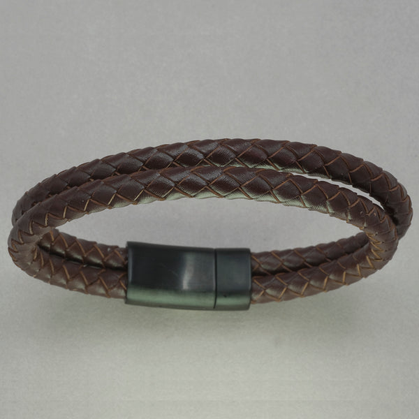 Italgem Brown Leather Two-Strand Bracelet