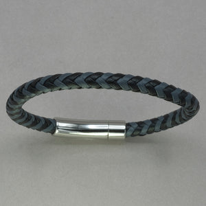 Italgem Black and Grey Leather Bracelet