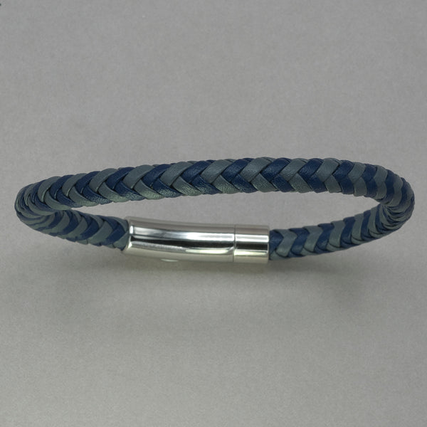 Italgem Blue and Grey Leather Bracelet