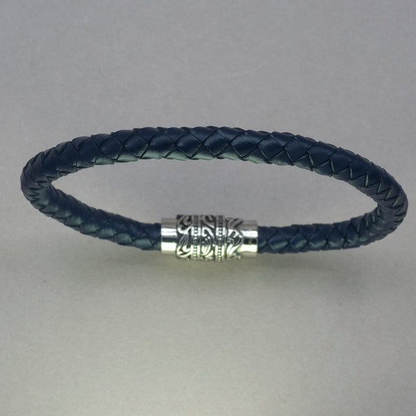 Italgem Blue Leather Engraved Clasp Bracelet