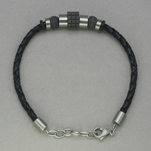 Italgem Black Leather with Carbon Fiber Bracelet