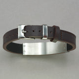 Italgem Wood ID Brown Leather Bracelet