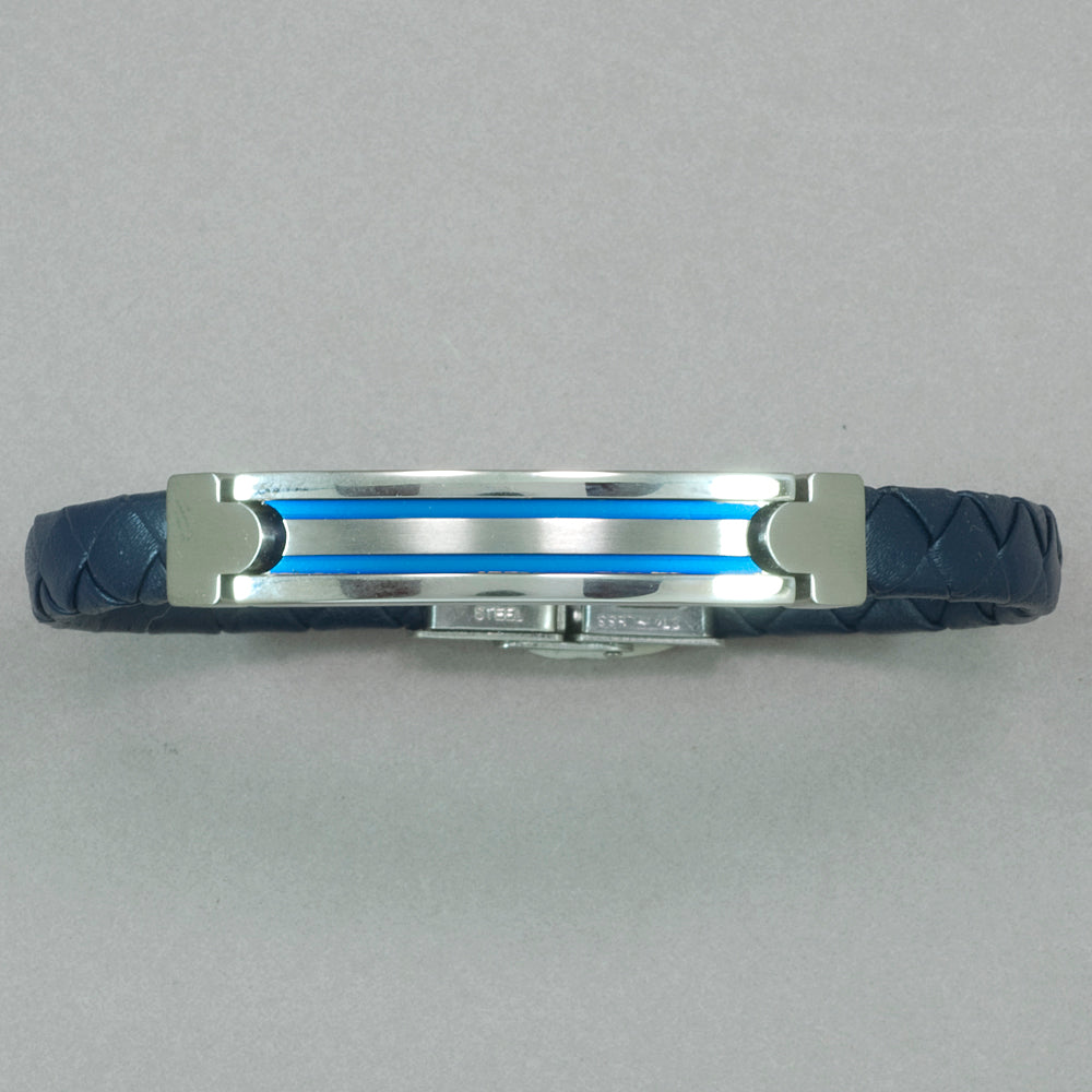 Italgem ID Plate and Blue Leather Bracelet