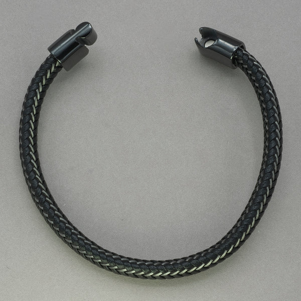 Italgem Black Leather and Stainless Steel Weave Bracelet